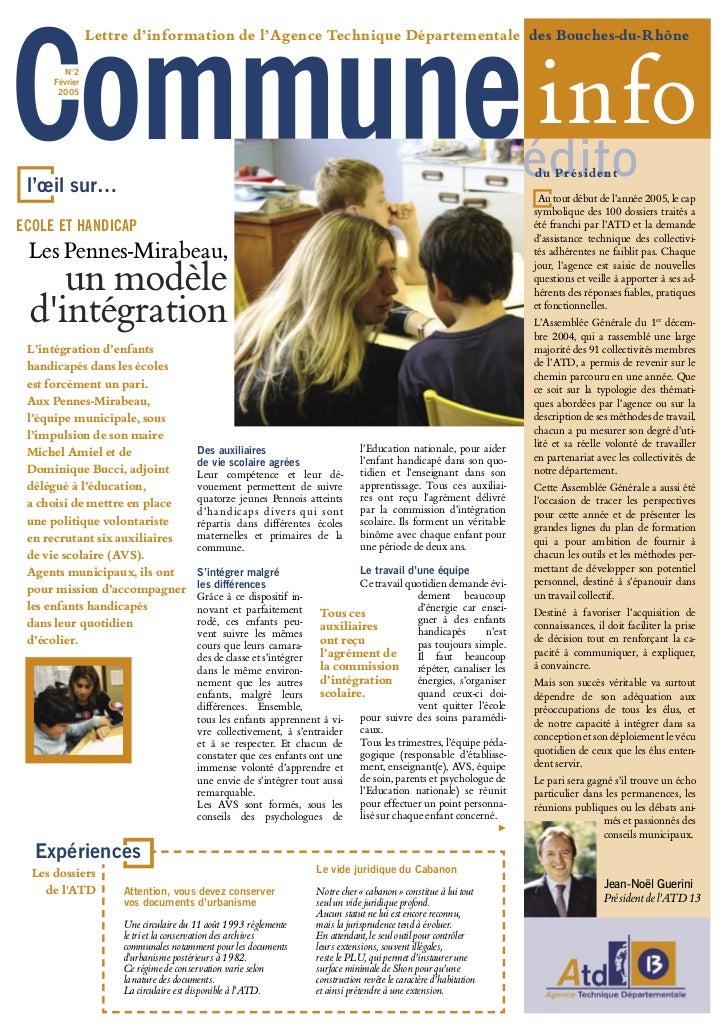 Commune info                Lettre d'information de l'Agence Technique Départementale des Bouches-du-Rhône         N°2    ...