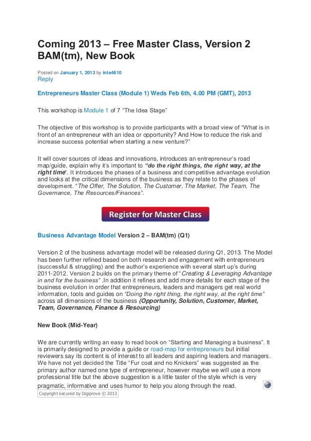 Coming 2013 – Free Master Class, Version 2BAM(tm), New BookPosted on January 1, 2013 by inte4610ReplyEntrepreneurs Master ...
