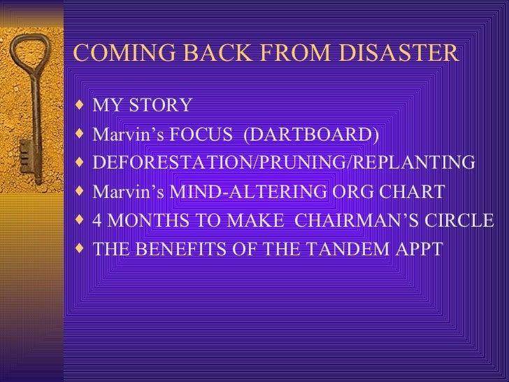 COMING BACK FROM DISASTER <ul><li>MY STORY </li></ul><ul><li>Marvin's FOCUS  (DARTBOARD) </li></ul><ul><li>DEFORESTATION/P...
