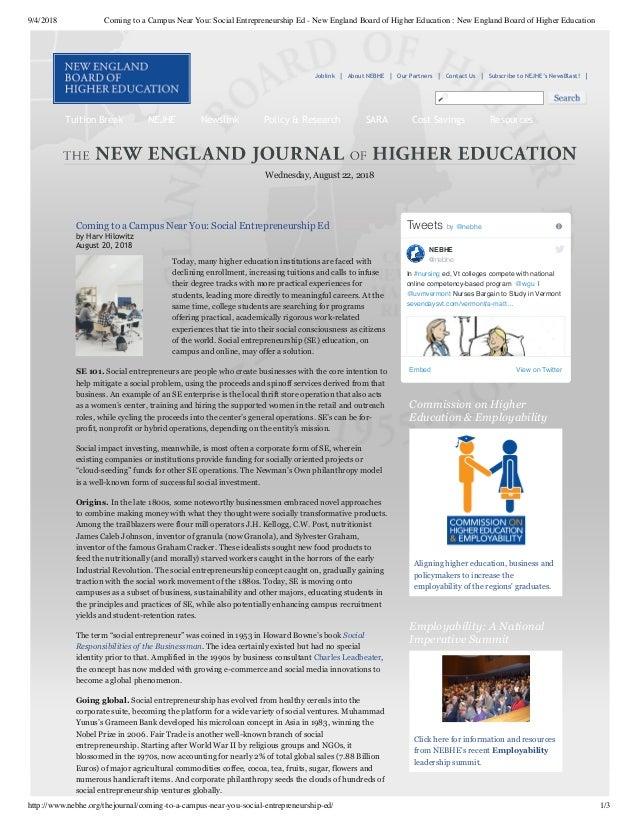 9/4/2018 Coming to a Campus Near You: Social Entrepreneurship Ed - New England Board of Higher Education : New England Boa...