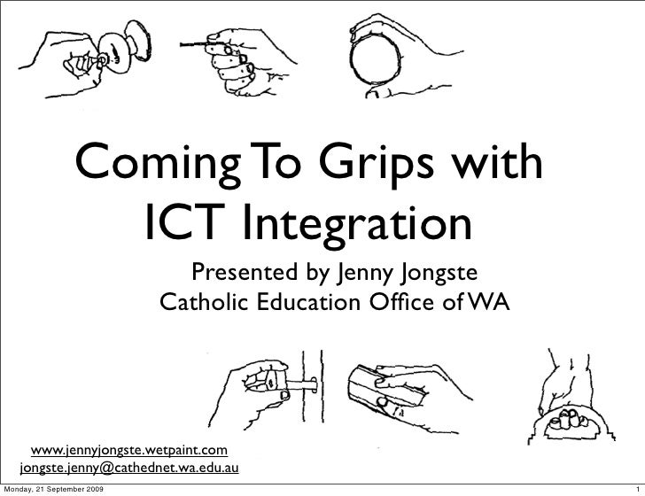 Coming To Grips with                    ICT Integration                               Presented by Jenny Jongste          ...