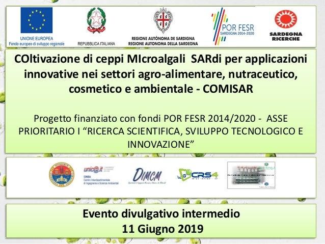 Evento divulgativo intermedio 11 Giugno 2019 COltivazione di ceppi MIcroalgali SARdi per applicazioni innovative nei setto...