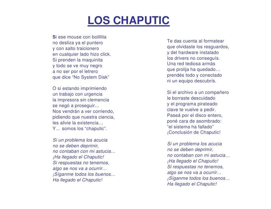 LOS CHAPUTIC Si ese mouse con bolillita no desliza ya el puntero        Te das cuenta al formatear y con salto traicionero...