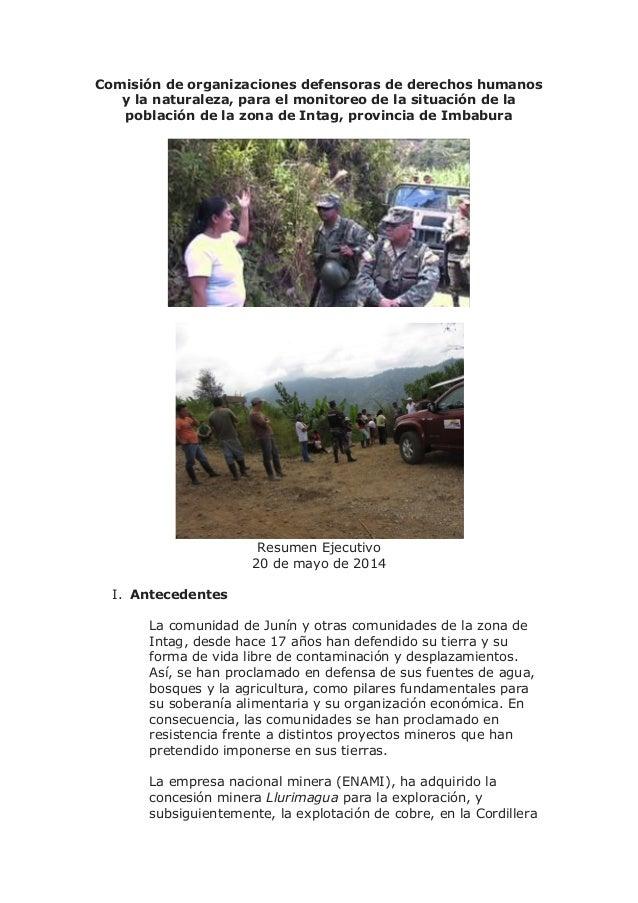 Comisión de organizaciones defensoras de derechos humanos y la naturaleza, para el monitoreo de la situación de la poblaci...