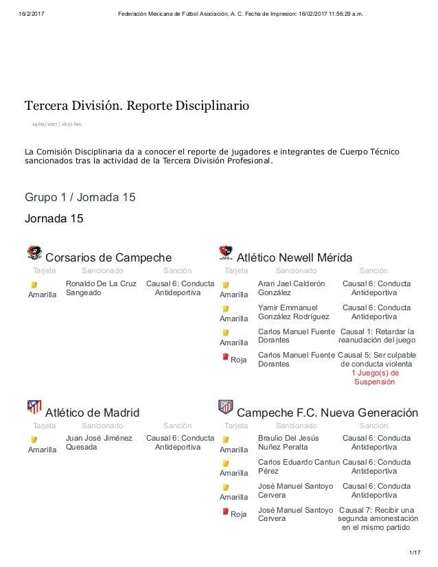 16/2/2017 Federación Mexicana de Fútbol Asociación, A. C. Fecha de Impresion: 16/02/2017 11:56:29 a.m. 1/17 14/02/2017 | 1...