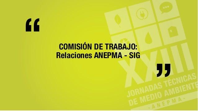 """COMISIÓN DE TRABAJO: Relaciones ANEPMA - SIG """" """""""