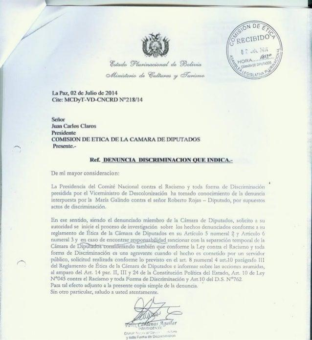 Comision de etica camara de diputados   denuncia discriminacion