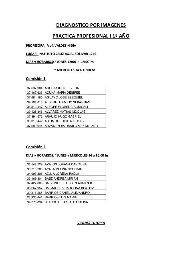 DIAGNOSTICO POR IMAGENES PRACTICA PROFESIONAL I 1º AÑO PROFESORA: Prof. VALDEZ NIDIA LUGAR: INSTITUTO CRUZ ROJA. BOLIVAR 1...
