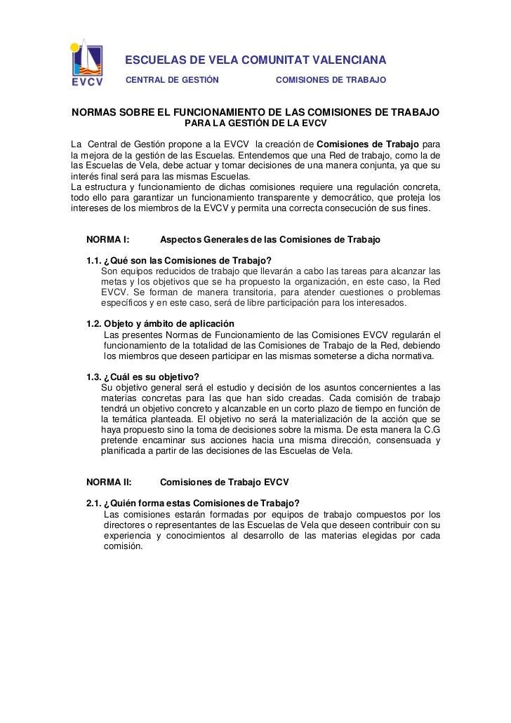 ESCUELAS DE VELA COMUNITAT VALENCIANA            CENTRAL DE GESTIÓN                   COMISIONES DE TRABAJONORMAS SOBRE EL...