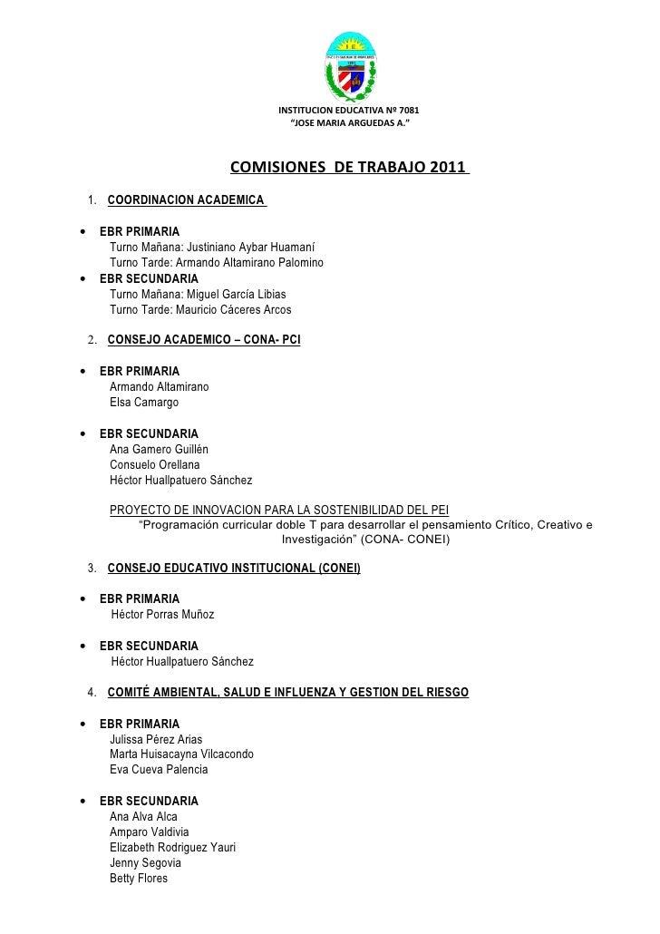 """INSTITUCION EDUCATIVA Nº 7081                                        """"JOSE MARIA ARGUEDAS A.""""                             ..."""
