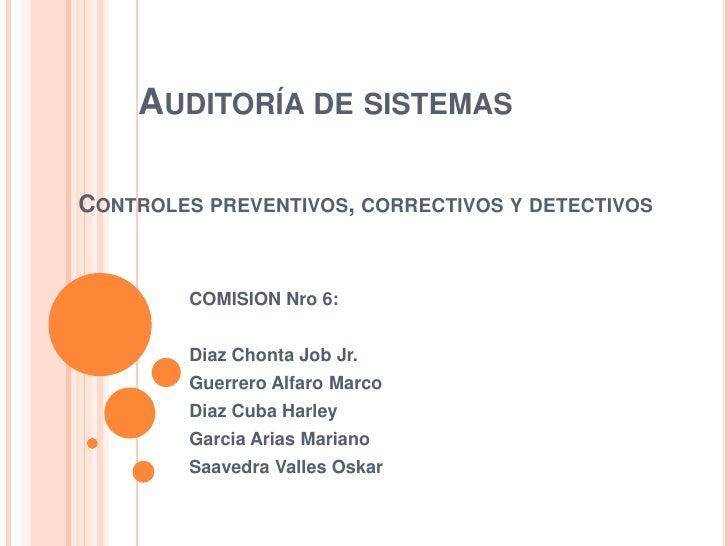 AUDITORÍA DE SISTEMASCONTROLES PREVENTIVOS, CORRECTIVOS Y DETECTIVOS         COMISION Nro 6:         Diaz Chonta Job Jr.  ...