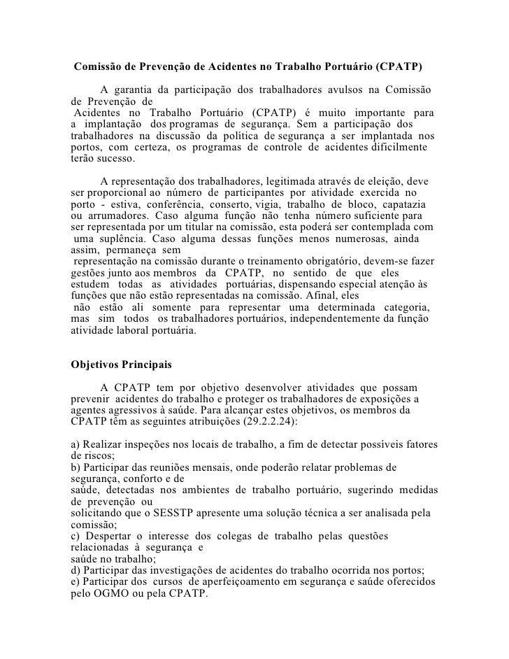 Comissão de prevenção de acidentes no trabalho portuário