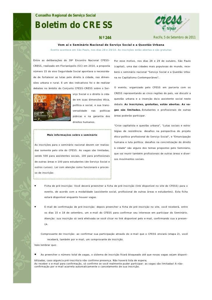 Conselho Regional de Serviço Social Boletim do CRESS                                                    Nº 244            ...