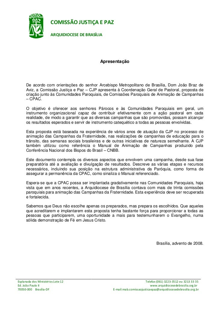 COMISSÃO JUSTIÇA E PAZ                       ARQUIDIOCESE DE BRASÍLIA                                              Apresen...