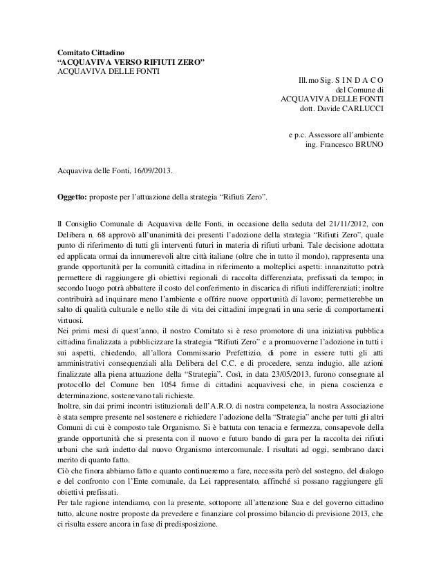 """Comitato Cittadino """"ACQUAVIVA VERSO RIFIUTI ZERO"""" ACQUAVIVA DELLE FONTI Ill.mo Sig. S I N D A C O del Comune di ACQUAVIVA ..."""