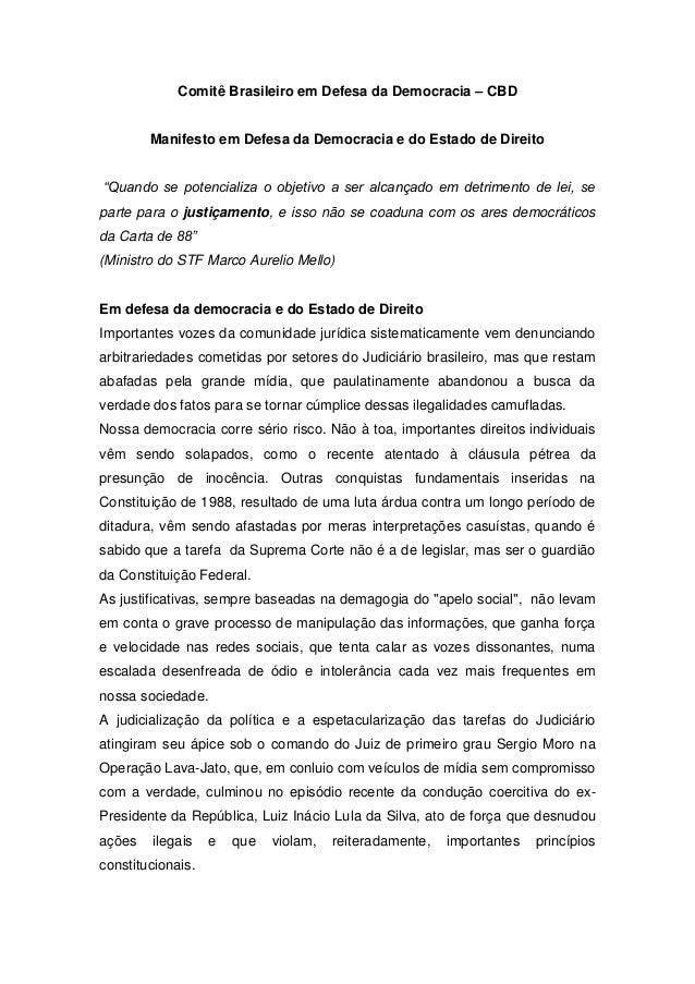 Comitê Brasileiro em Defesa da Democracia – CBD