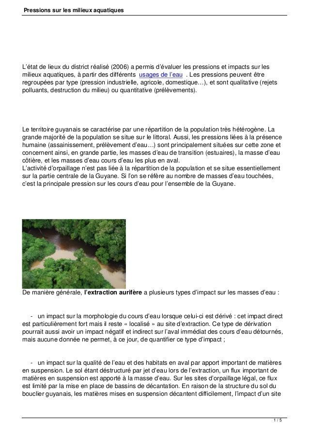Pressions sur les milieux aquatiques  L'état de lieux du district réalisé (2006) a permis d'évaluer les pressions et impac...
