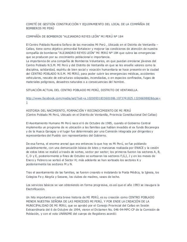 """COMITÉ DE GESTIÓN CONSTRUCCIÓN Y EQUIPAMIENTO DEL LOCAL DE LA COMPÀÑIA DEBOMBEROS MI PERÚCOMPAÑÍA DE BOMBEROS """"ALEJANDRO R..."""