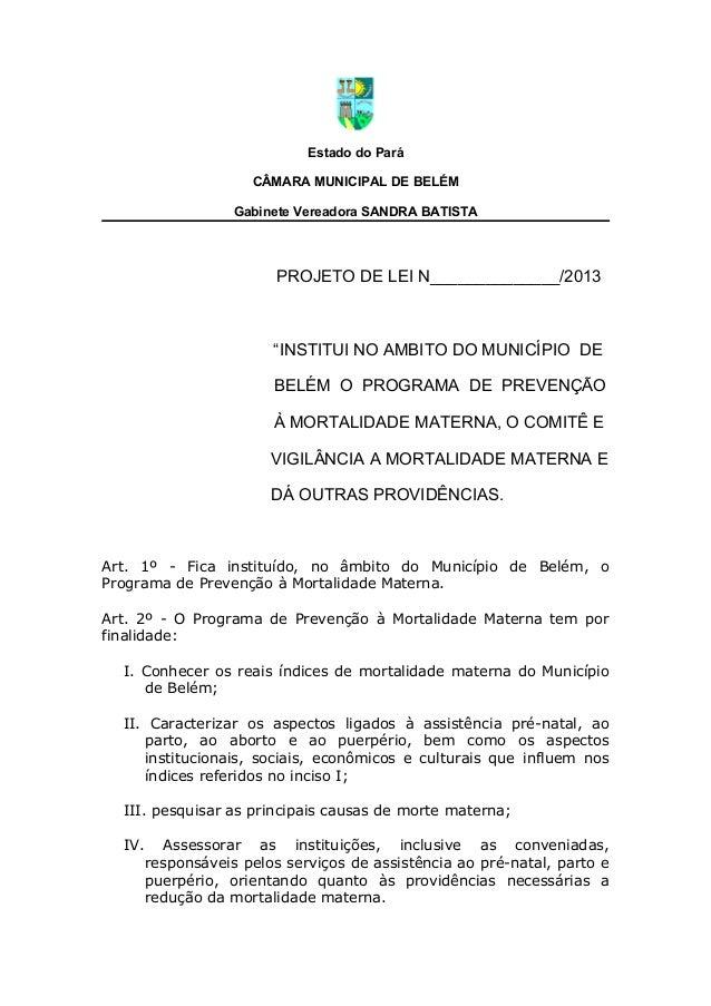 """Estado do ParáCÂMARA MUNICIPAL DE BELÉMGabinete Vereadora SANDRA BATISTAPROJETO DE LEI N______________/2013""""INSTITUI NO AM..."""