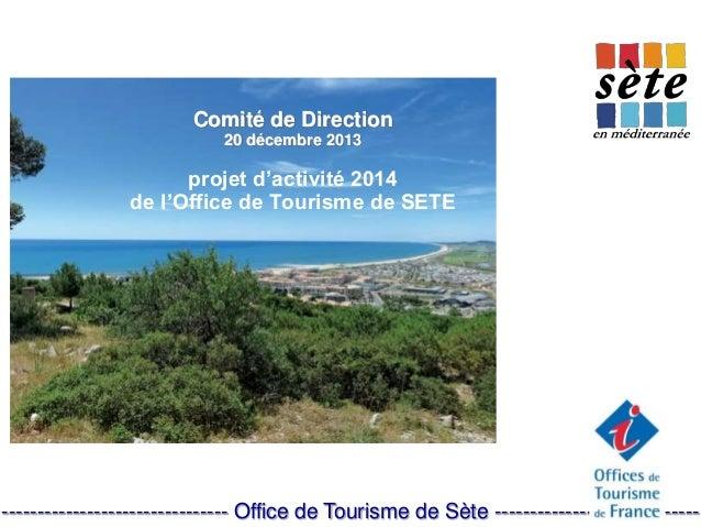 Comité de Direction 20 décembre 2013 projet d'activité 2014 de l'Office de Tourisme de SETE ------------------------------...
