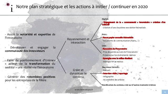 www.linnovatoire.fr 14 Notre plan stratégique et les actions à initier / continuer en 2020 - Assoir la notoriété et expert...