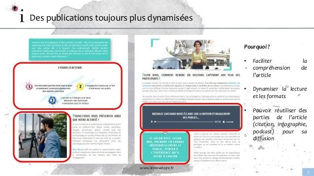 www.linnovatoire.fr 7 Des publications toujours plus dynamisées Pourquoi ? • Faciliter la compréhension de l'article • Dyn...