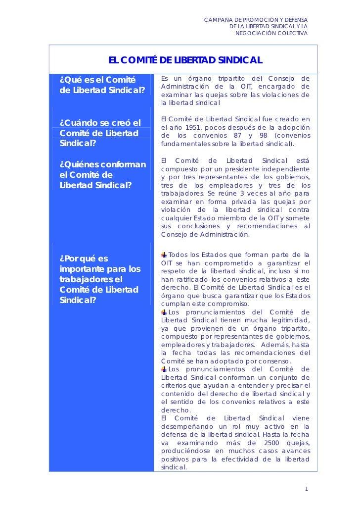 CAMPAÑA DE PROMOCIÓN Y DEFENSA                                           DE LA LIBERTAD SINDICAL Y LA                     ...