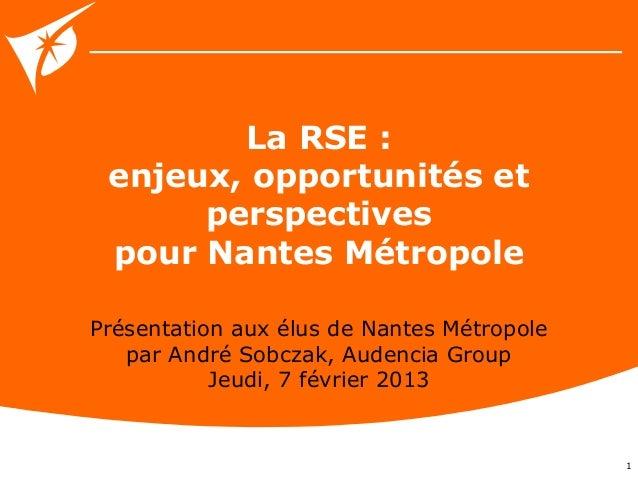 La RSE : enjeux, opportunités et      perspectives pour Nantes MétropolePrésentation aux élus de Nantes Métropole   par An...