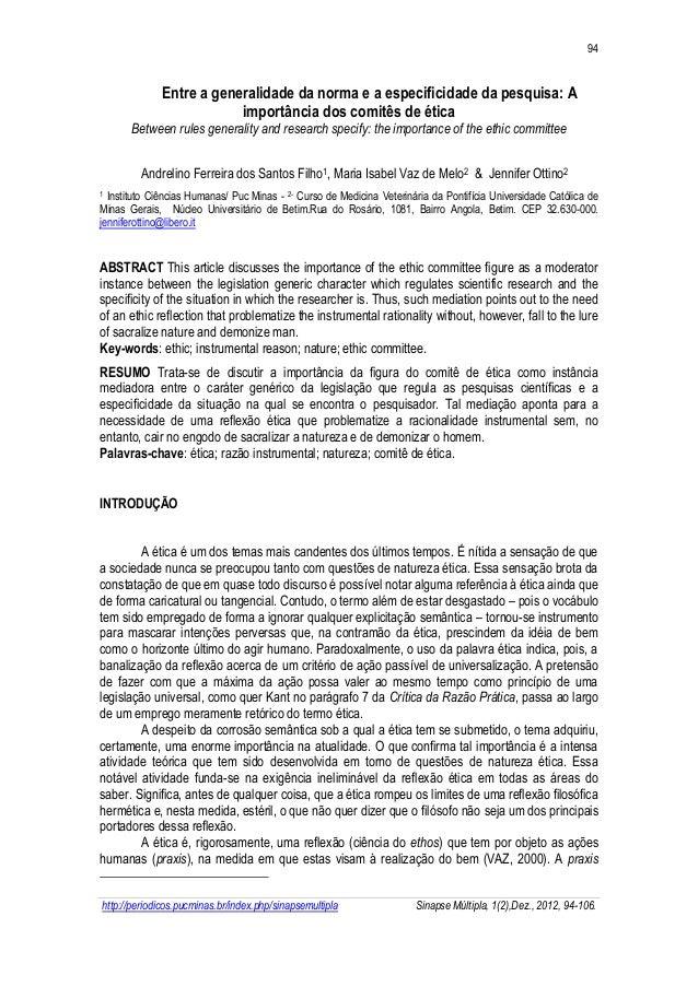 94  http://periodicos.pucminas.br/index.php/sinapsemultipla Sinapse Múltipla, 1(2),Dez., 2012, 94-106.  Entre a generalida...