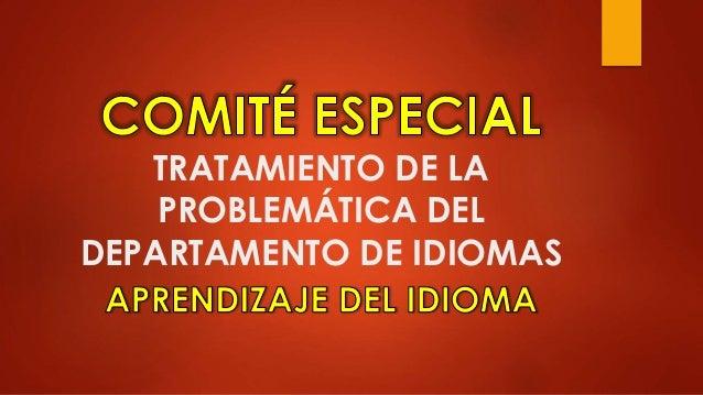 TRATAMIENTO DE LA PROBLEMÁTICA DEL DEPARTAMENTO DE IDIOMAS