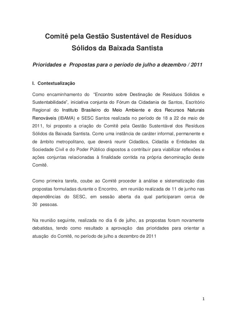 Comitê pela Gestão Sustentável de Resíduos                   Sólidos da Baixada SantistaPrioridades e Propostas para o per...