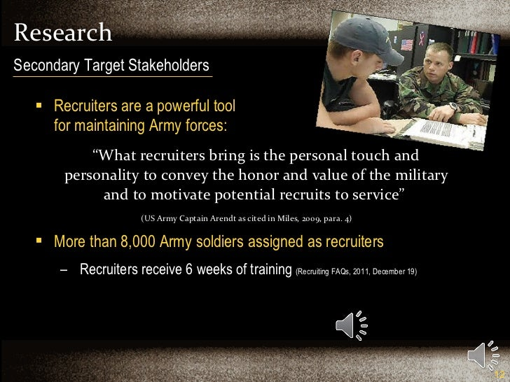 """Research <ul><li>Recruiters are a powerful tool  for maintaining Army forces: </li></ul><ul><li>"""" What recruiters bring is..."""