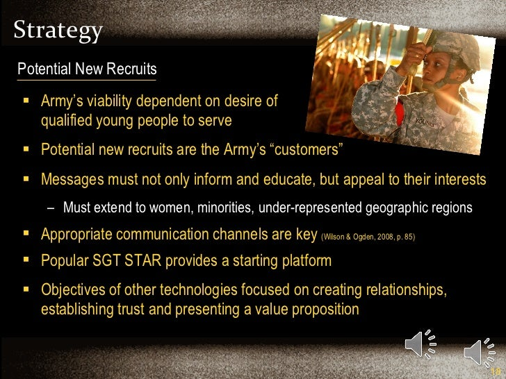 Strategy  <ul><li>Army's viability dependent on desire of  qualified young people to serve </li></ul><ul><li>Potential new...