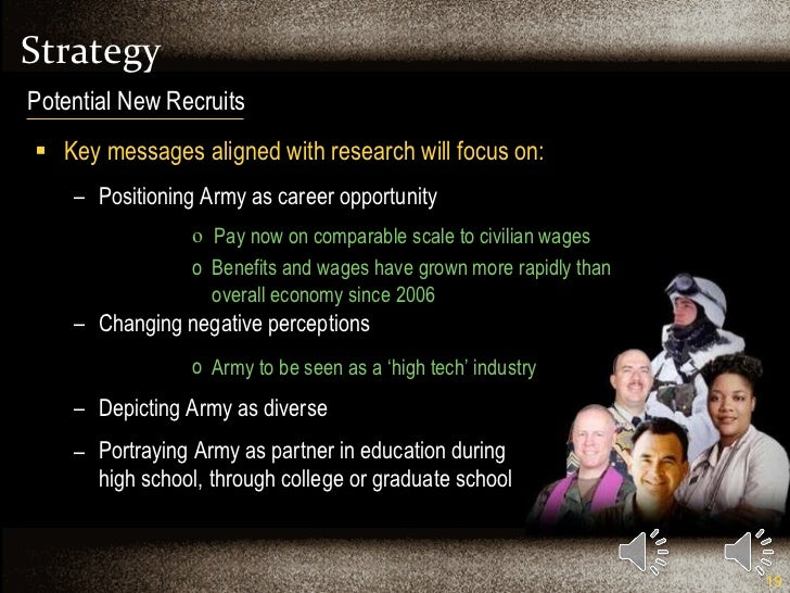 Strategy <ul><li>Key messages aligned with research will focus on: </li></ul><ul><ul><li>Positioning Army as career opport...