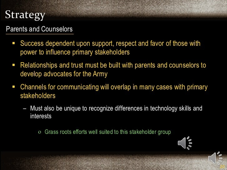 Strategy <ul><li>Success dependent upon support, respect and favor of those with power to influence primary stakeholders <...