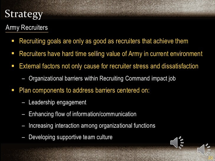 Strategy <ul><li>Recruiting goals are only as good as recruiters that achieve them </li></ul><ul><li>Recruiters have hard ...