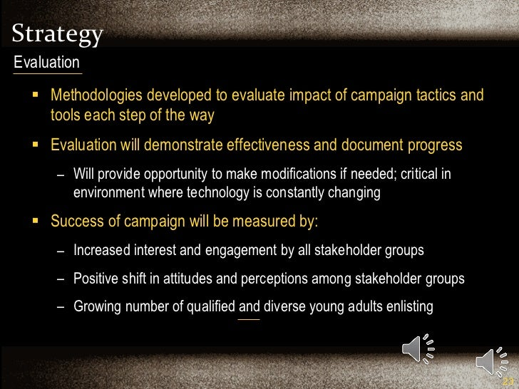 Strategy <ul><li>Methodologies developed to evaluate impact of campaign tactics and tools each step of the way </li></ul><...