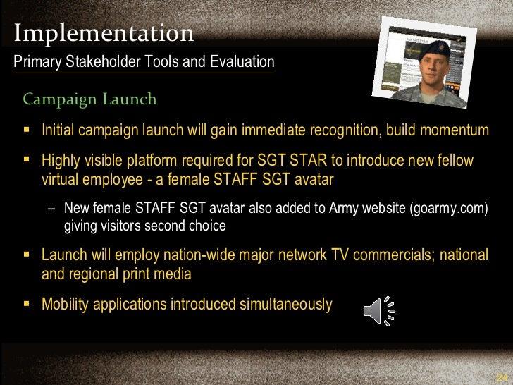 Implementation <ul><li>Campaign Launch </li></ul><ul><li>Initial campaign launch will gain immediate recognition, build mo...