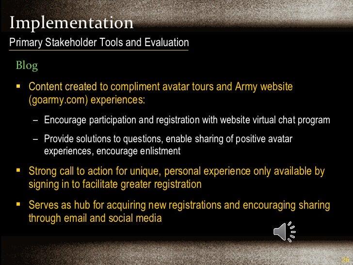 Implementation <ul><li>Blog </li></ul><ul><li>Content created  to compliment avatar tours and Army website (goarmy.com) ex...