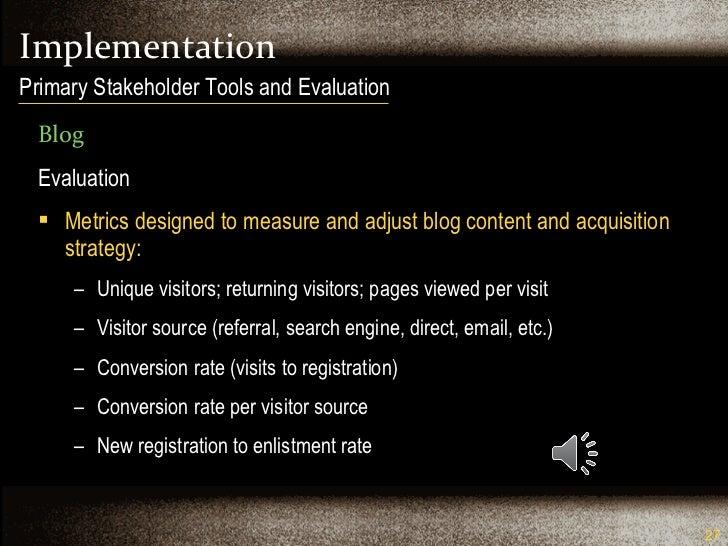 Implementation <ul><li>Blog </li></ul><ul><li>Evaluation </li></ul><ul><li>Metrics designed to measure and adjust blog con...