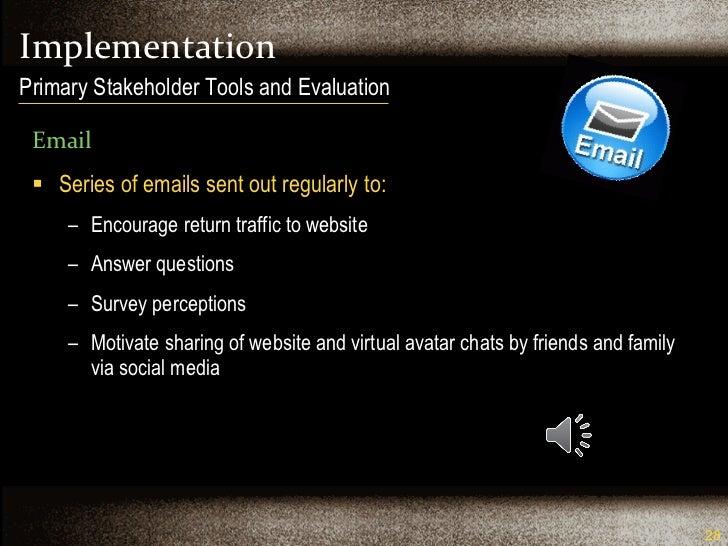Implementation <ul><li>Email </li></ul><ul><li>Series of emails sent out regularly to: </li></ul><ul><ul><li>Encourage ret...