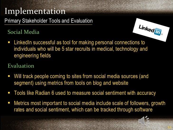 Implementation <ul><li>Social Media </li></ul><ul><li>LinkedIn successful as tool for making personal connections to indiv...