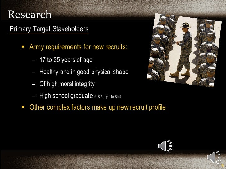 Research <ul><li>Army requirements for new recruits: </li></ul><ul><ul><li>17 to 35 years of age </li></ul></ul><ul><ul><l...