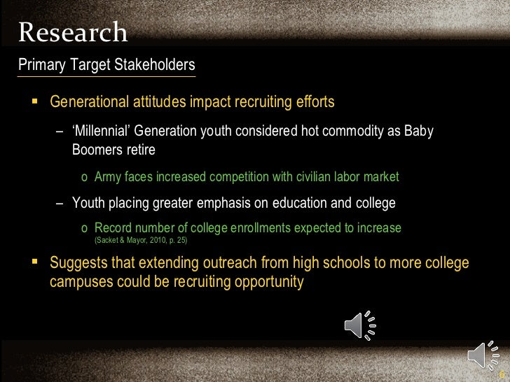 Research <ul><li>Generational attitudes impact recruiting efforts </li></ul><ul><ul><li>' Millennial' Generation youth con...