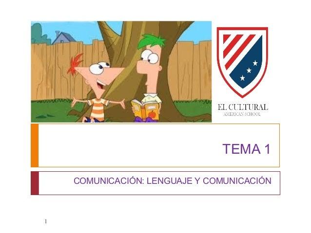 TEMA 1 COMUNICACIÓN: LENGUAJE Y COMUNICACIÓN 1