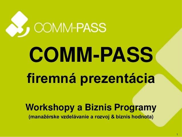 1 COMM-PASS firemná prezentácia Workshopy a Biznis Programy (manažérske vzdelávanie a rozvoj & biznis hodnota)