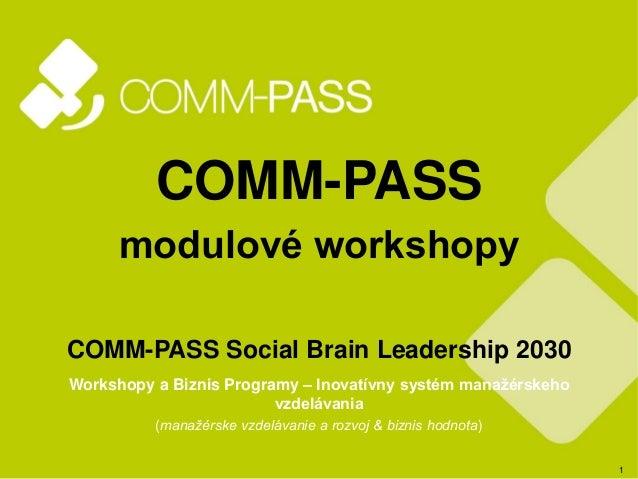 1 COMM-PASS modulové workshopy COMM-PASS Social Brain Leadership 2030 Workshopy a Biznis Programy – Inovatívny systém mana...