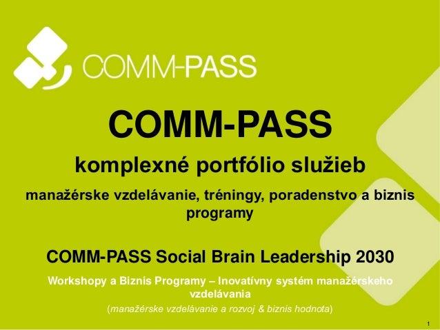 1 COMM-PASS komplexné portfólio služieb manažérske vzdelávanie, tréningy, poradenstvo a biznis programy COMM-PASS Social B...