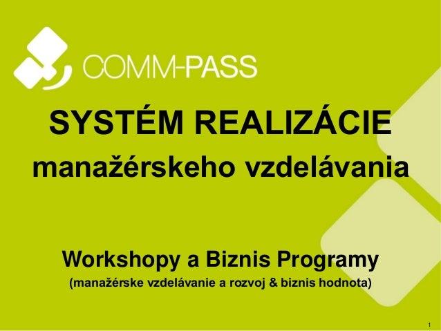 1 SYSTÉM REALIZÁCIE manažérskeho vzdelávania Workshopy a Biznis Programy (manažérske vzdelávanie a rozvoj & biznis hodnota)
