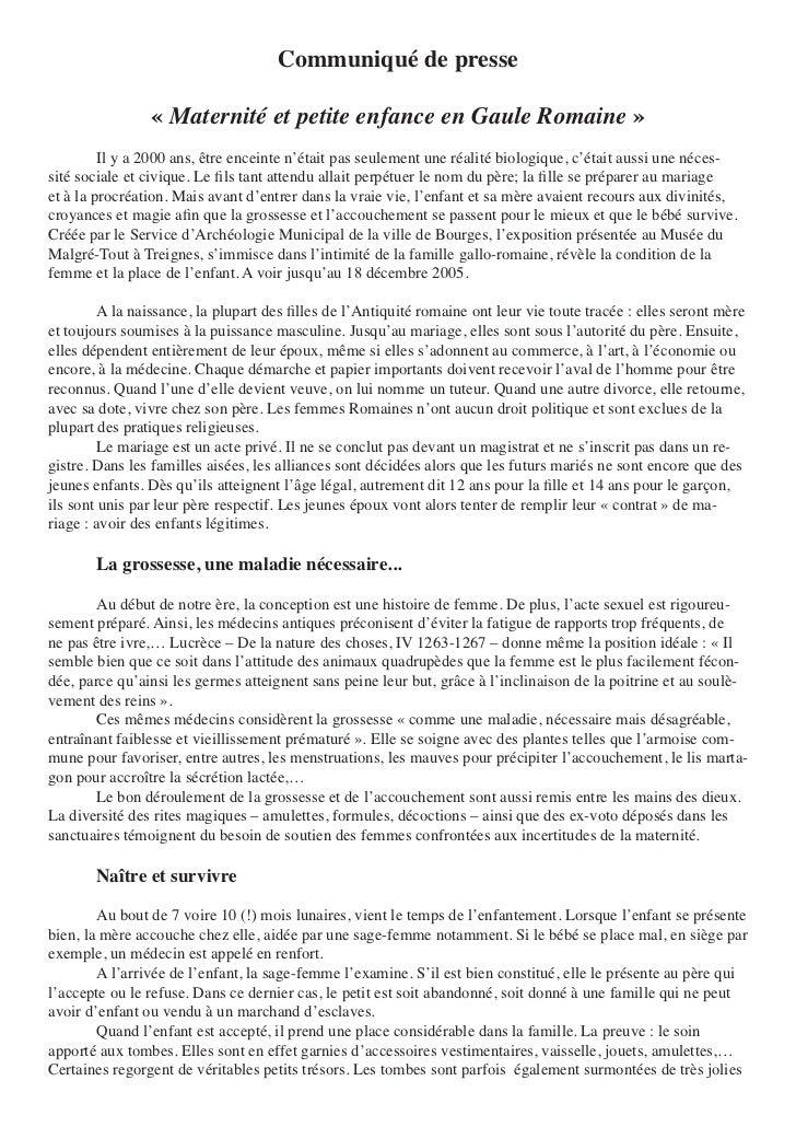 Communiqué de presse                 « Maternité et petite enfance en Gaule Romaine »        Ilya2000ans,êtreencein...